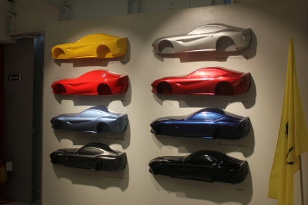 Samples of the myriad of Ferrari colors