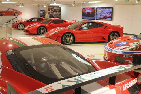 From back to front:  2003 360 Challenge Stradale, 2013 458 Speciale, 2007 430 Scuderia, 2006 430 GTC-GT2, and the 2011 458 GT2 car built by AF Corsa.