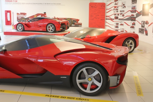 Project F150 cars in the foreground with a final LaFerrari in the back.